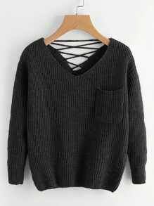 Double V Lace-Up Back Chunky Knit Jumper