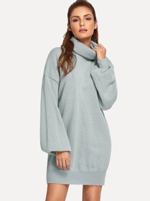 High Neck Drop Shoulder Solid Sweater Dress