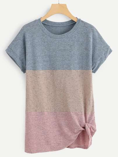 89917fdcb94 Color-Block Twist Front Tee