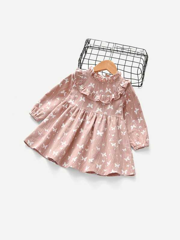 9be3df453c79 Toddler Girls Butterfly Print Frill Trim Dress | SHEIN