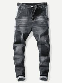 Men Patch Ripped Jeans