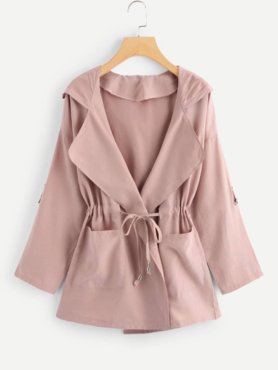Plus Self Tie Hooded Coat