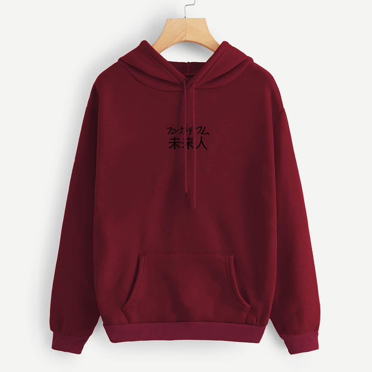 SHEIN coupon: Kangaroo Pocket Letter Embroidered Hoodie