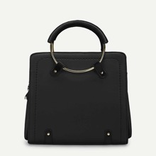 Plain Satchel Bag With Ring Handle