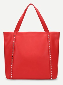 Plain Studded Detail Tote Bag