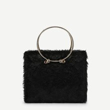 Faux Fur Design Satchel With Ring Handle