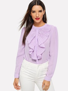 Pleated Ruffle Trim Shirt