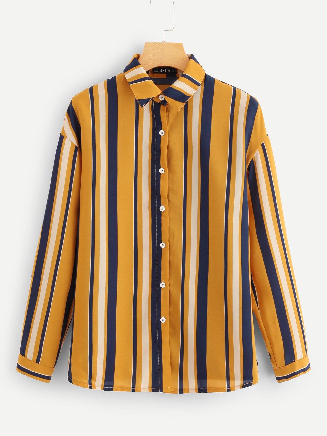 4581cf33f76a54 Cheap Curved Hem Striped Shirt for sale Australia | SHEIN