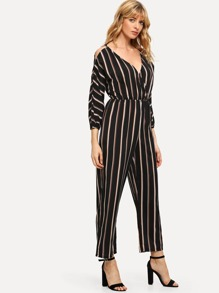 Striped V Neck Jumpsuits