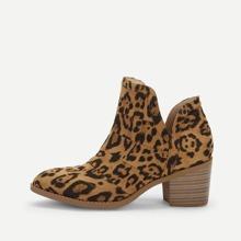 - V-cut Leopard Pattern Western Ankle Boots