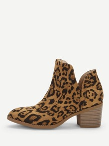 V-cut Leopard Pattern Western Ankle Boots