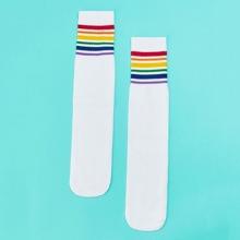 Kids Striped Hem Socks 1pair