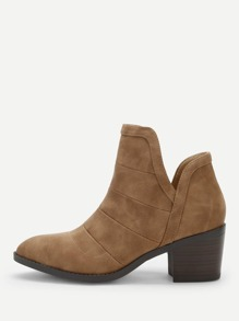 Plain Block Heeled Ankle Boots