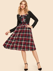 Zip Back Knot Front Plaid Dress