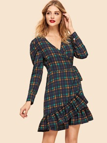 Ruffle Hem Plaid Dress