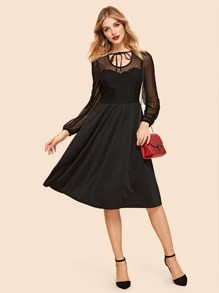 Dot Mesh Insert Fit and Flare Dress