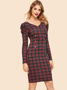 Double Breasted Puff Sleeve Tartan Dress
