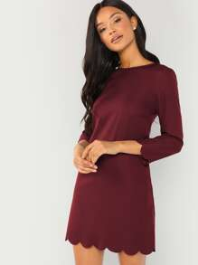 Scallop Trim Tunic Dress