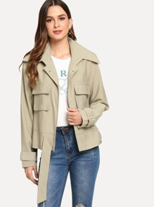 Flap Pocket Belted Front Utility Jacket