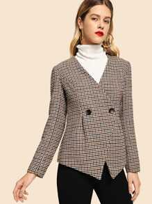 Button Front Plaid Print Coat