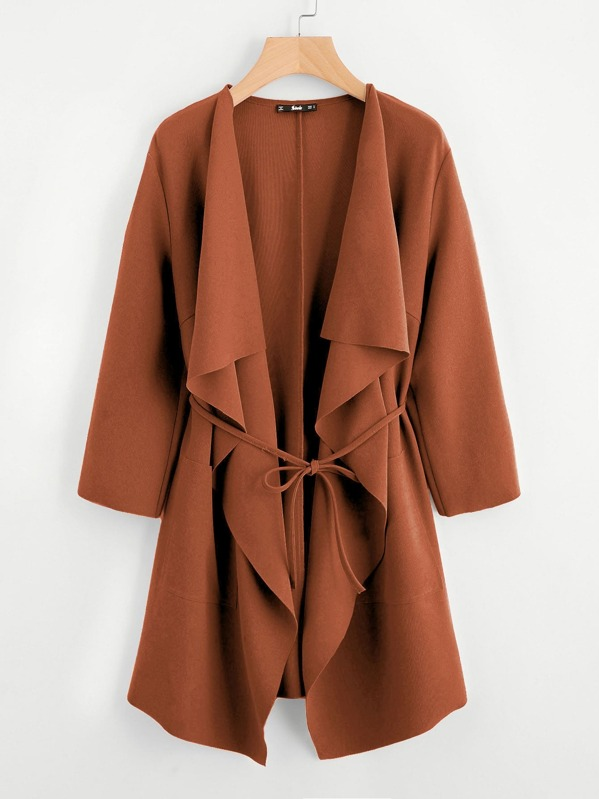 Waterfall Collar Pocket Front Wrap Coat by Shein