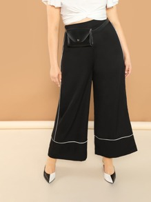 Plus Contrast Binding Wide Leg Pants
