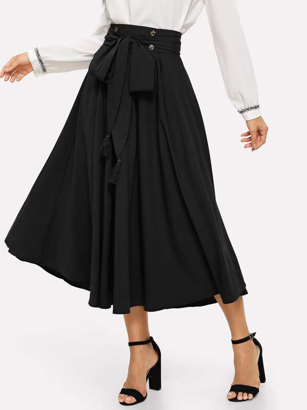 83f96911d Tassel Bow Tie Waist Pocket Side Pleated Skirt | SHEIN