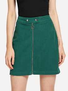 Exposed Zip Front Corduroy Skirt