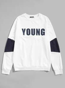 Men Crew Neck Fleece Sleeve Lettering