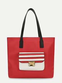 Pocket Front PU Tote Bag
