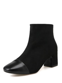 Cap Toe Side Zip Suede Boots