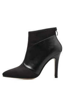 PU Panel Zip Back Stiletto Heeled Boots