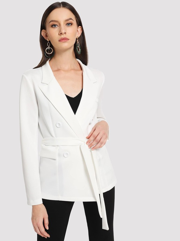 ccf8c8bf62dc Double Breasted Belted Notched Neck Blazer | SHEIN