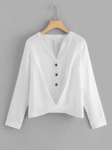 Button Front Gathered Hem Top