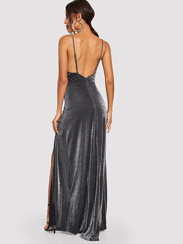 54417606a07 High Split Glitter Cami Maxi Prom Dress