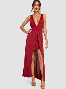 Plunging Neck Crisscross Back High Low Dress