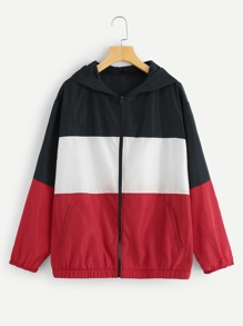 Plus Zipper Front Color Block Hoodie Jacket