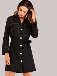 Button Front Self Tie Shirt Dress