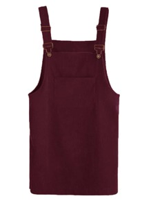 Front Pocket Corduroy Pinafore Dress