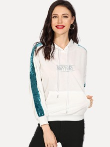 Embroidered Letter Hooded Sweatshirt