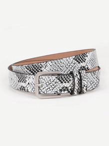 Metal Buckle Random Snakeskin Belt