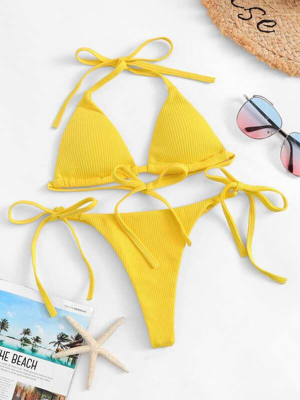 8592bd57f50 Cheap Rib Halter Top With Tie Side Triangle Panty Bikini for sale Australia