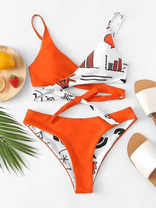 7714243a7f Self Tie Wrap Top With Ruched Bikini Set | SHEIN