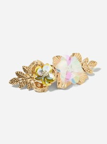 Sequin Decorated Metal Flower Hair Clip