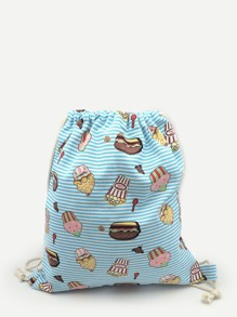 Hamburger Print Striped Backpack