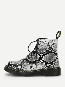 Snakeskin Lace-Up Boots