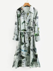 Self Tie Ink Painting Print Shirt Dress