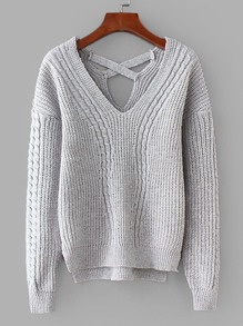 Criss-Cross Back Cable Knit Dip Hem Sweater