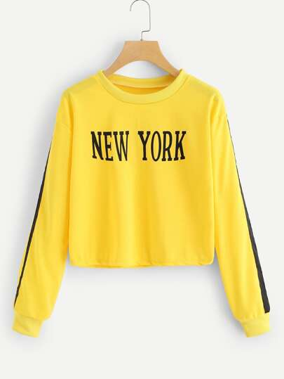 Contrast Tape Side Letter Graphic Sweatshirt