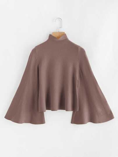 Stand Neck Bell Sleeve Jumper